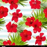 Hibiscus Flower Vector Seamless Pattern On A Blue Stripes Background Flowered Tropical Texture Stock Vector Image Art Alamy
