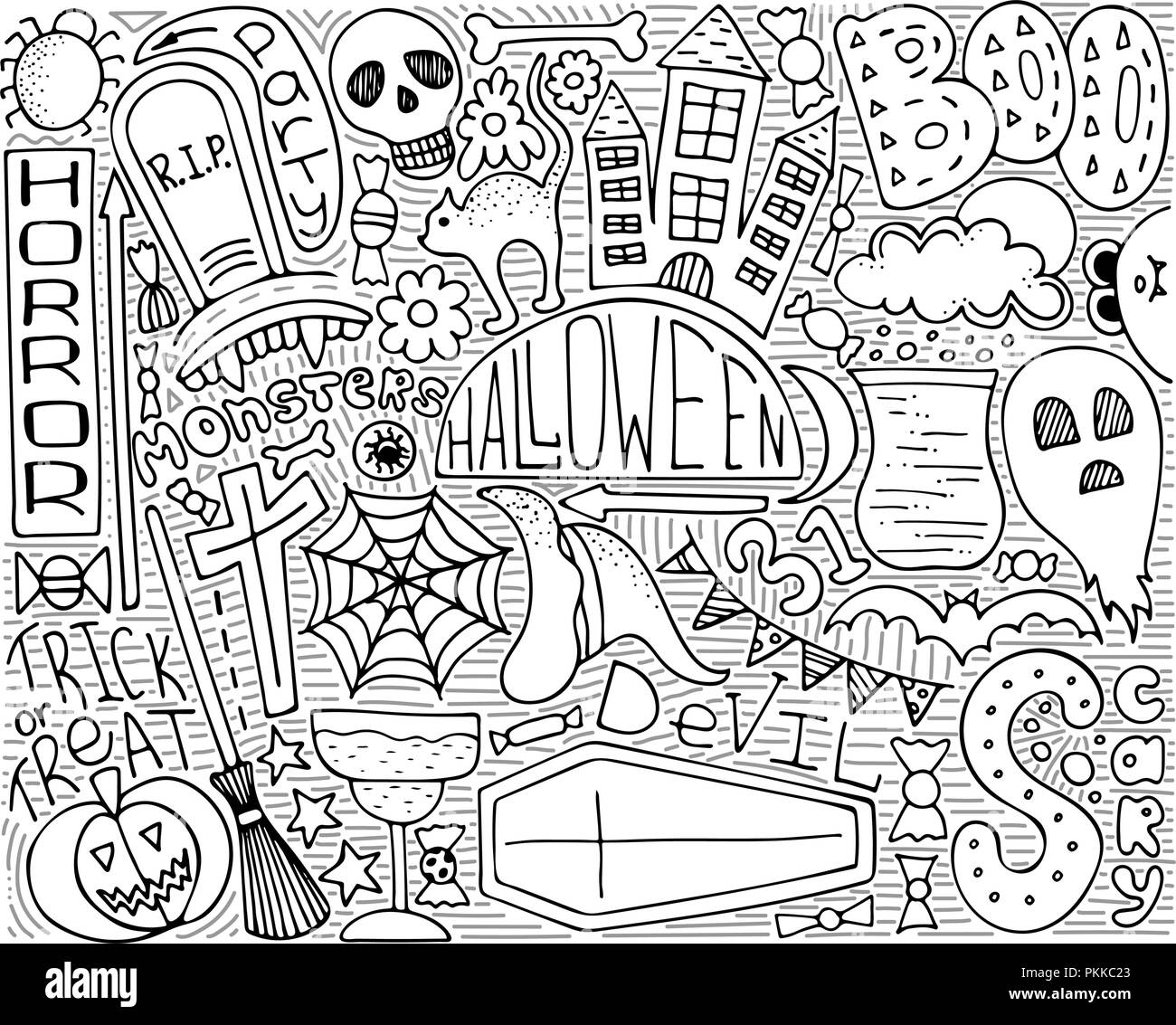Monochrome Vector Doodle Art For Halloween Party Modern