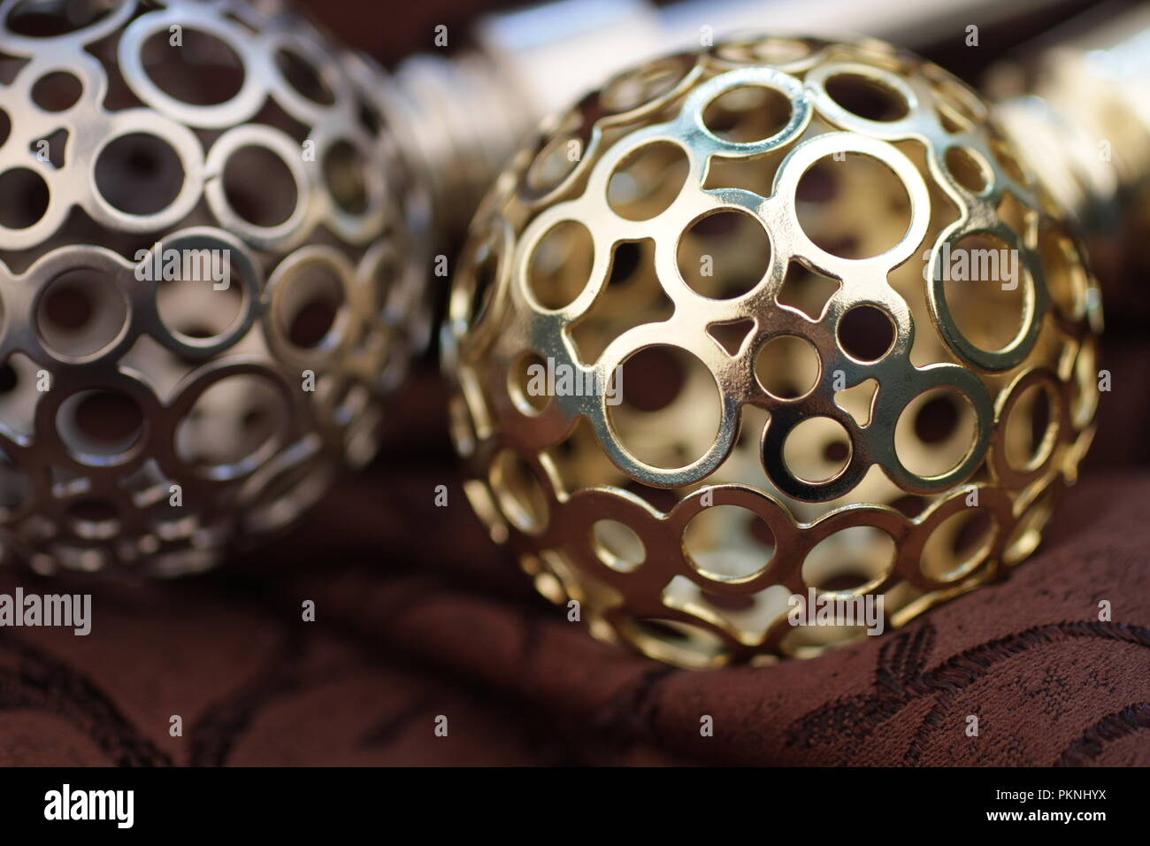 https www alamy com metal ending for cornices and the folded fabric curtain rod and finials on the folded fabric image218677982 html