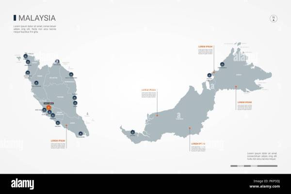 Malaysia map with borders cities capital and