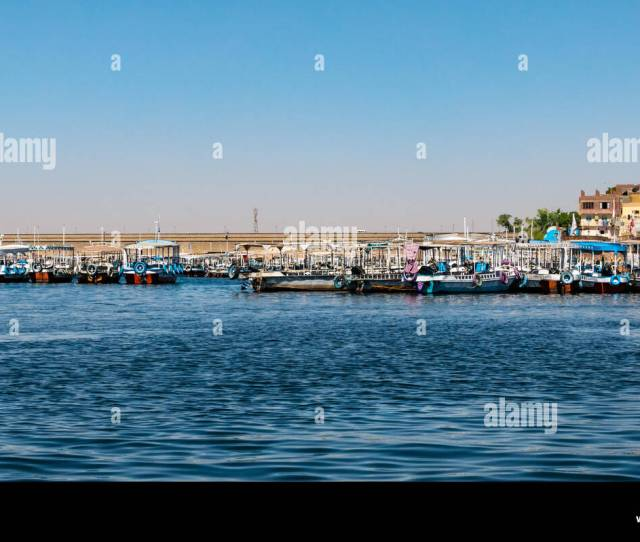 Colourful River Boats Moored By Aswan Low Dam On Lake Nasser For Tourists Visiting Philae Temple Aswan Egypt Africa