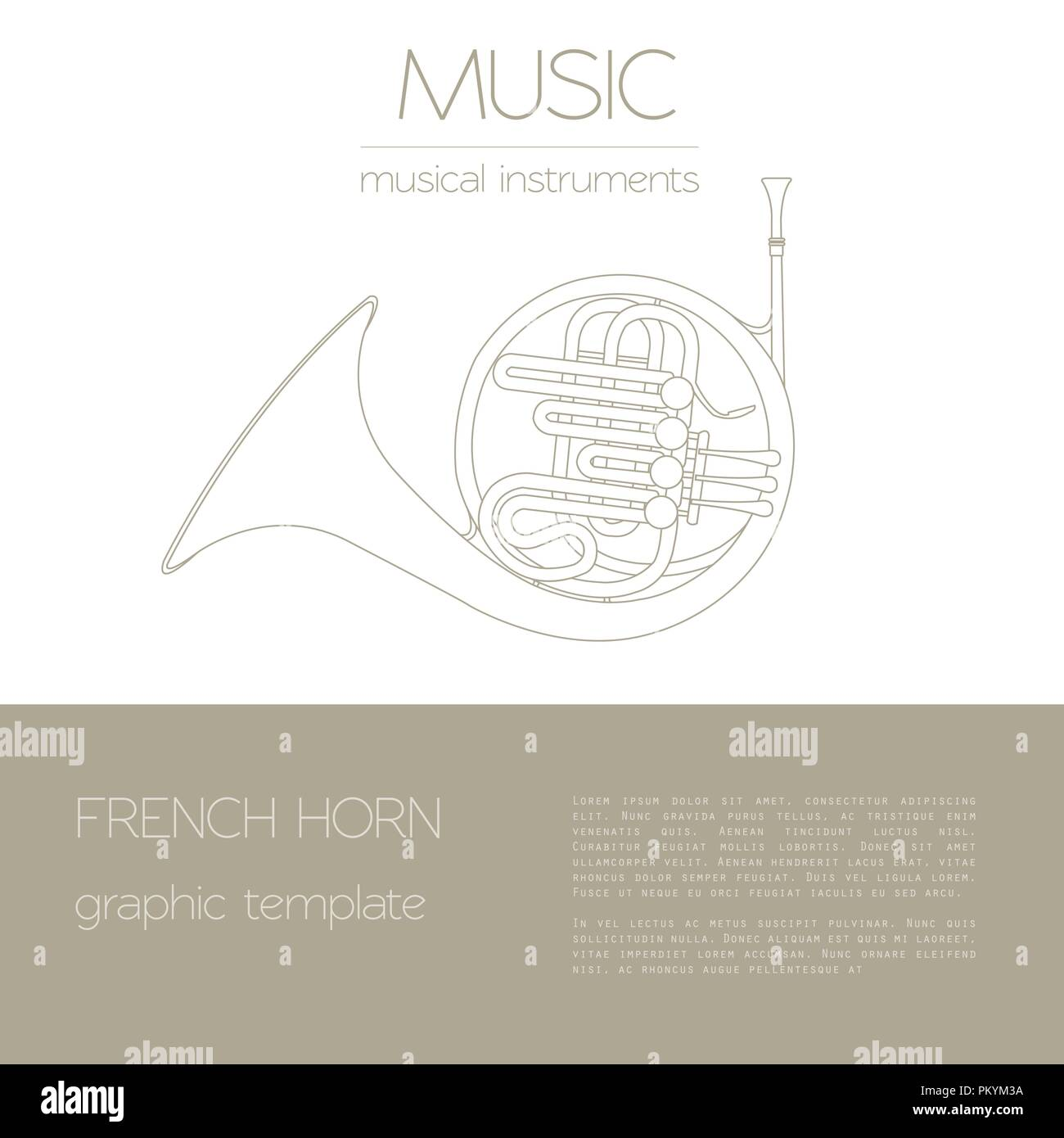 hight resolution of musical instruments graphic template french horn vector illustration