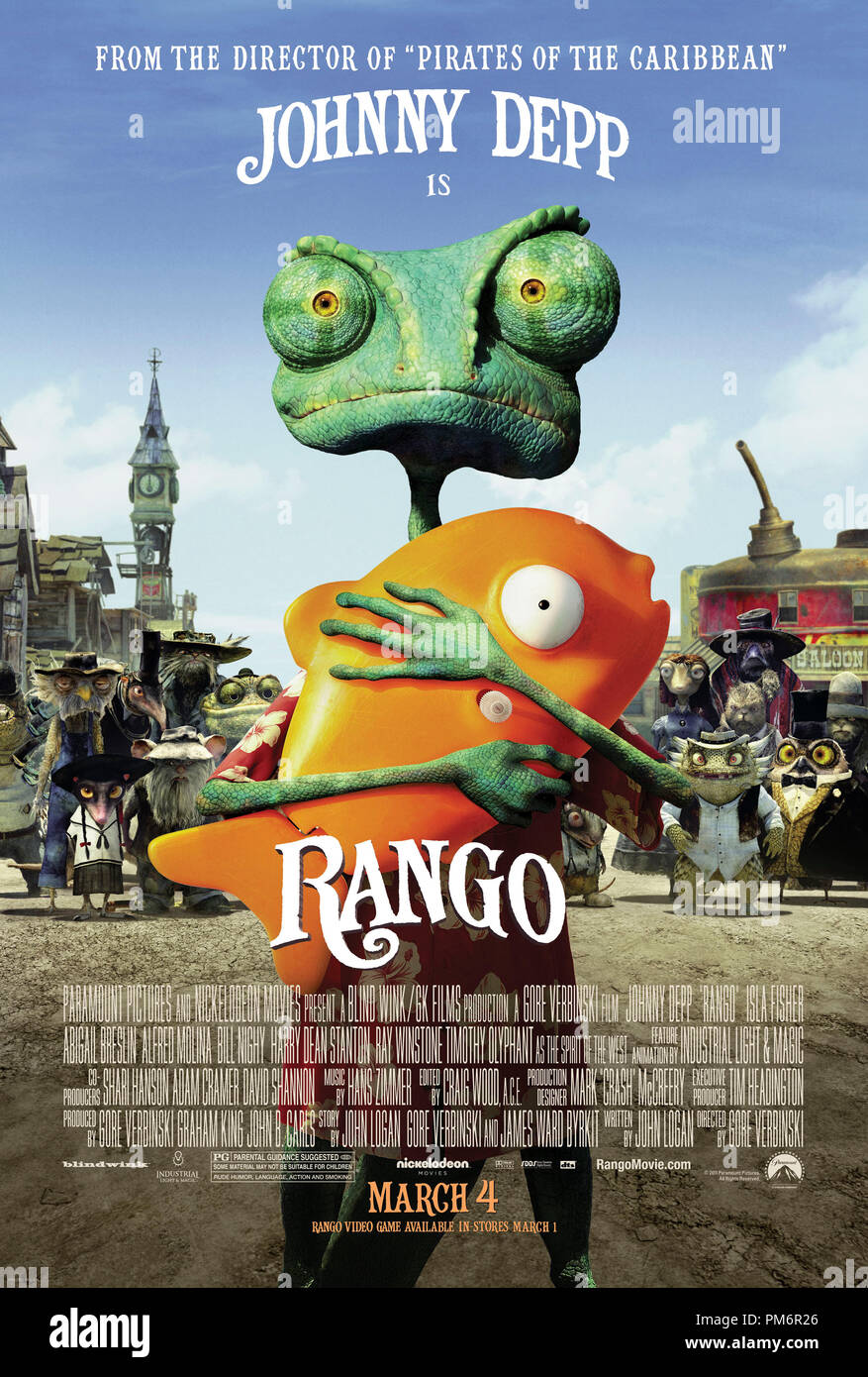 Nickelodeon Movies : nickelodeon, movies, RANGO,, Paramount, Pictures, Nickelodeon, Movies., Poster, Stock, Photo, Alamy