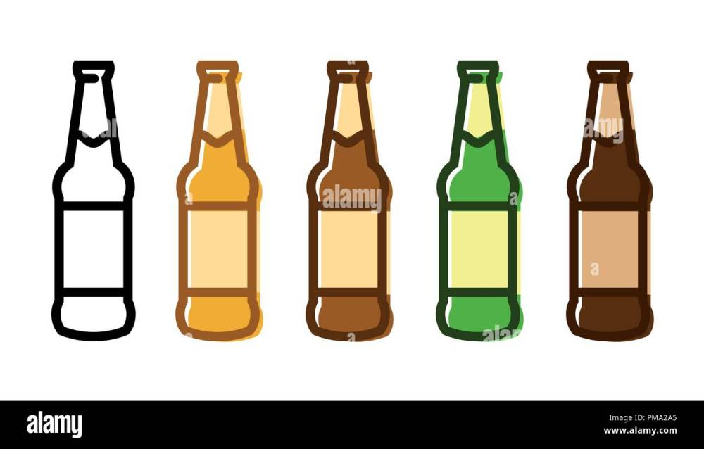 medium resolution of set of a beer bottle icon set stock image