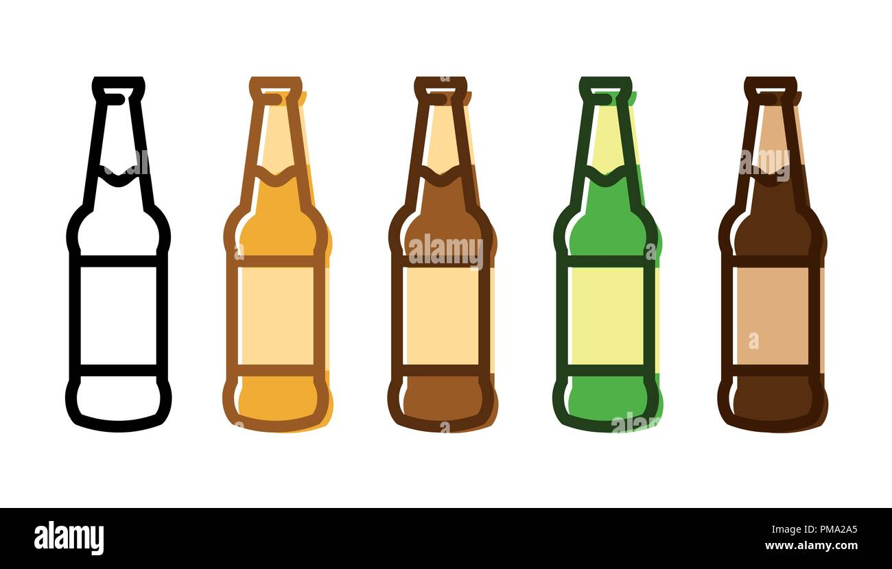 hight resolution of set of a beer bottle icon set stock image