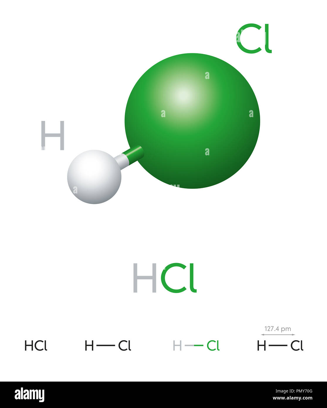 hight resolution of hydrogen chloride molecule model chemical formula ball and stick model geometric structure and structural formula hydrogen halide