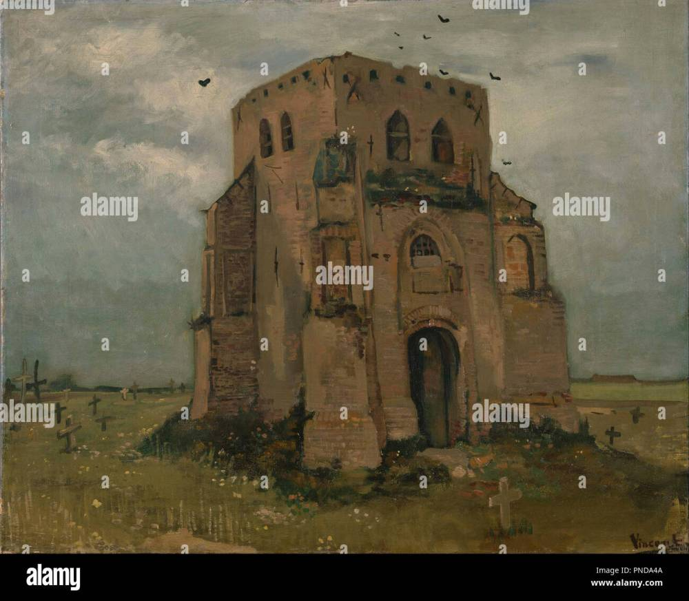 medium resolution of the old church tower at nuenen the peasants churchyard date period may 1885 june 1885 landscape oil on canvas height 65 cm 25 5 in width 88