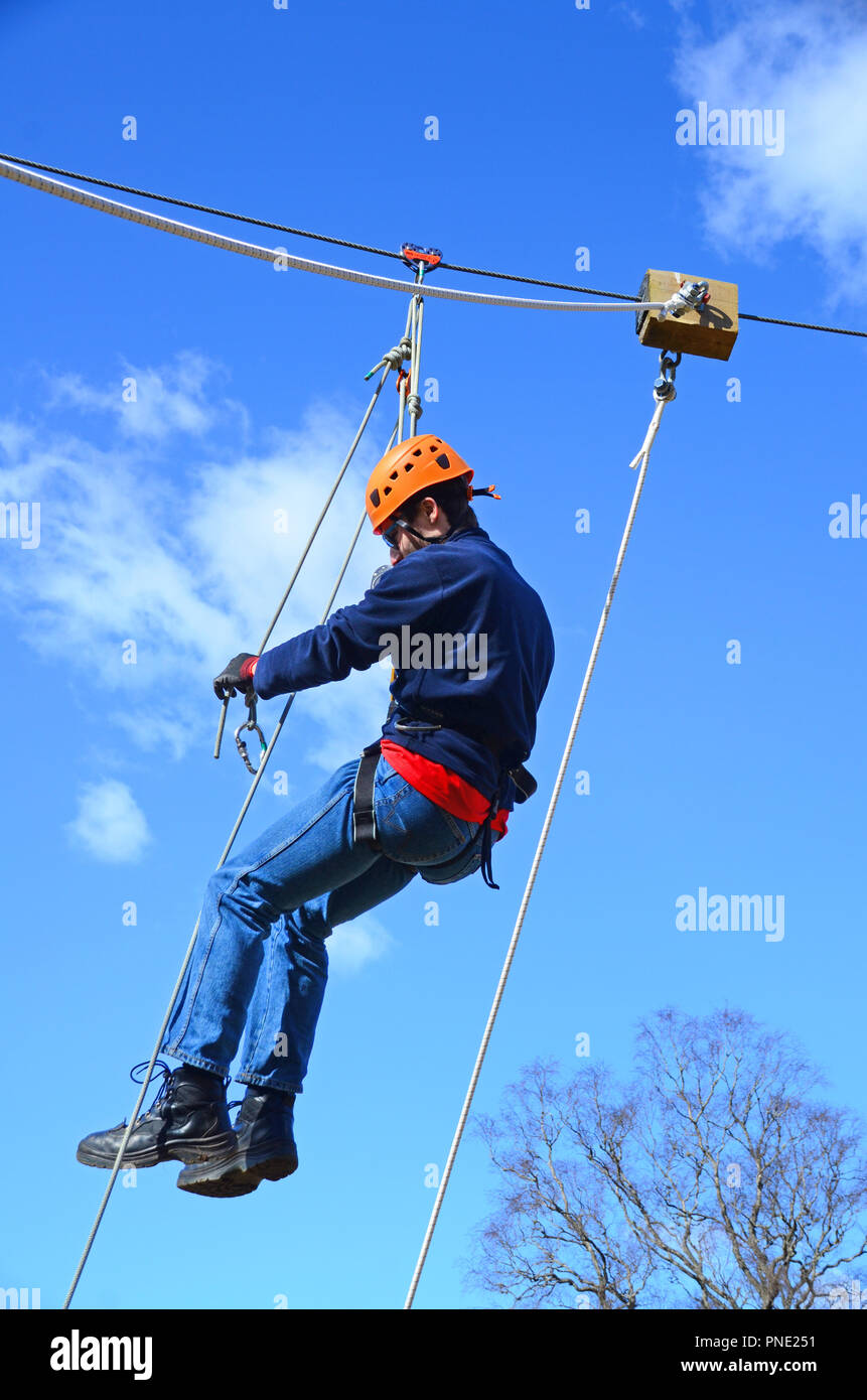 4 man zip wire wales ford windstar fuse panel diagram stock photos images alamy young reaching the end of a line