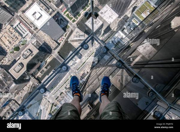 Ledge Glass Balcony 103rd Floor Willis Tower Downtown Chicago Il Stock