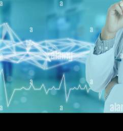 technology network in medical medicine concept icon medical network connection with modern screen virtual interface with wire mesh technology on blue [ 1300 x 653 Pixel ]