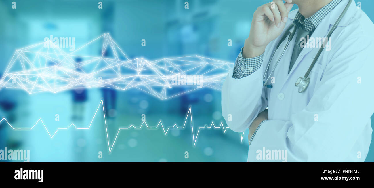 hight resolution of technology network in medical medicine concept icon medical network connection with modern screen virtual interface with wire mesh technology on blue