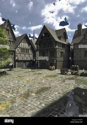 Medieval European or Fantasy Town Square Stock Photo Alamy