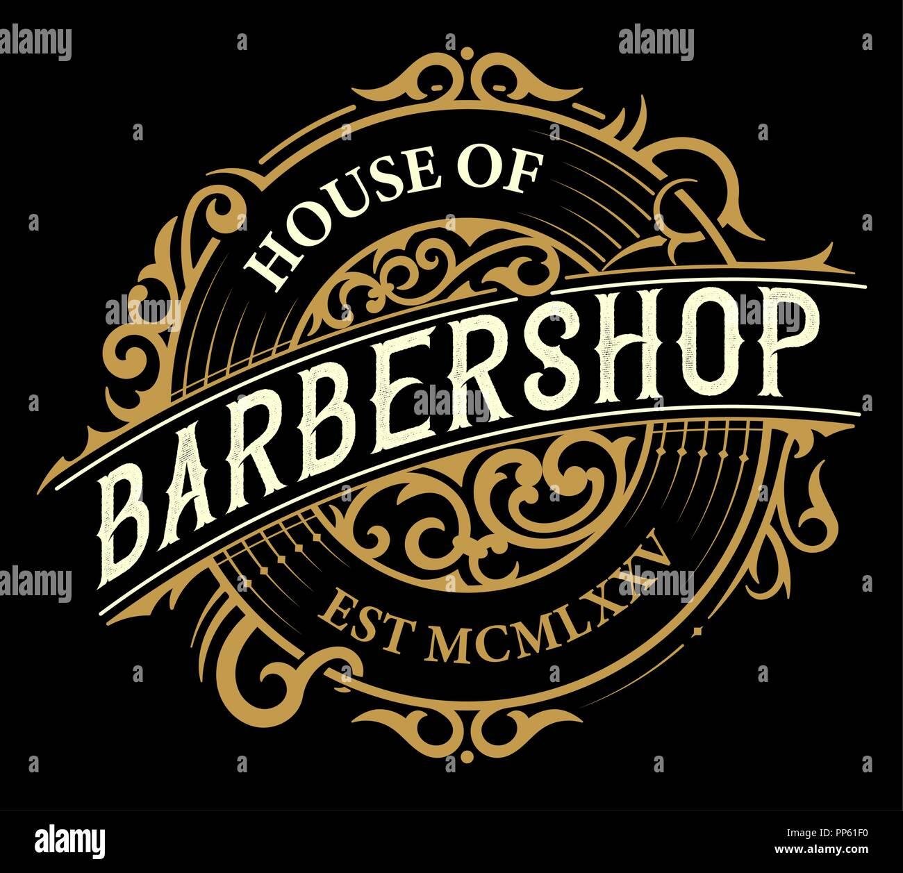 vintage barbershop logo stock