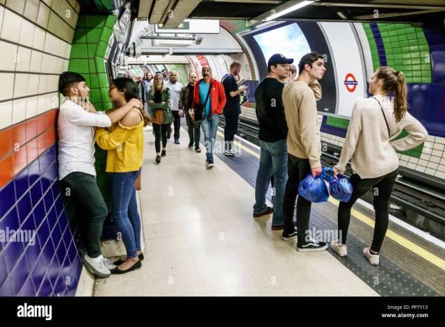 London England United Kingdom Great Britain Piccadilly Circus Underground Station Subway Tube Public Transportation Mass Transit Inside Platform Waiting