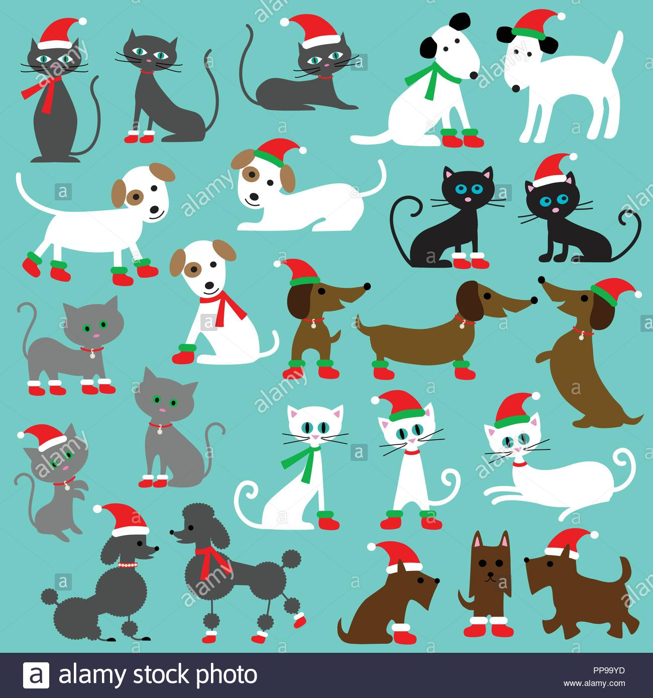 hight resolution of christmas cats and dogs clipart graphics