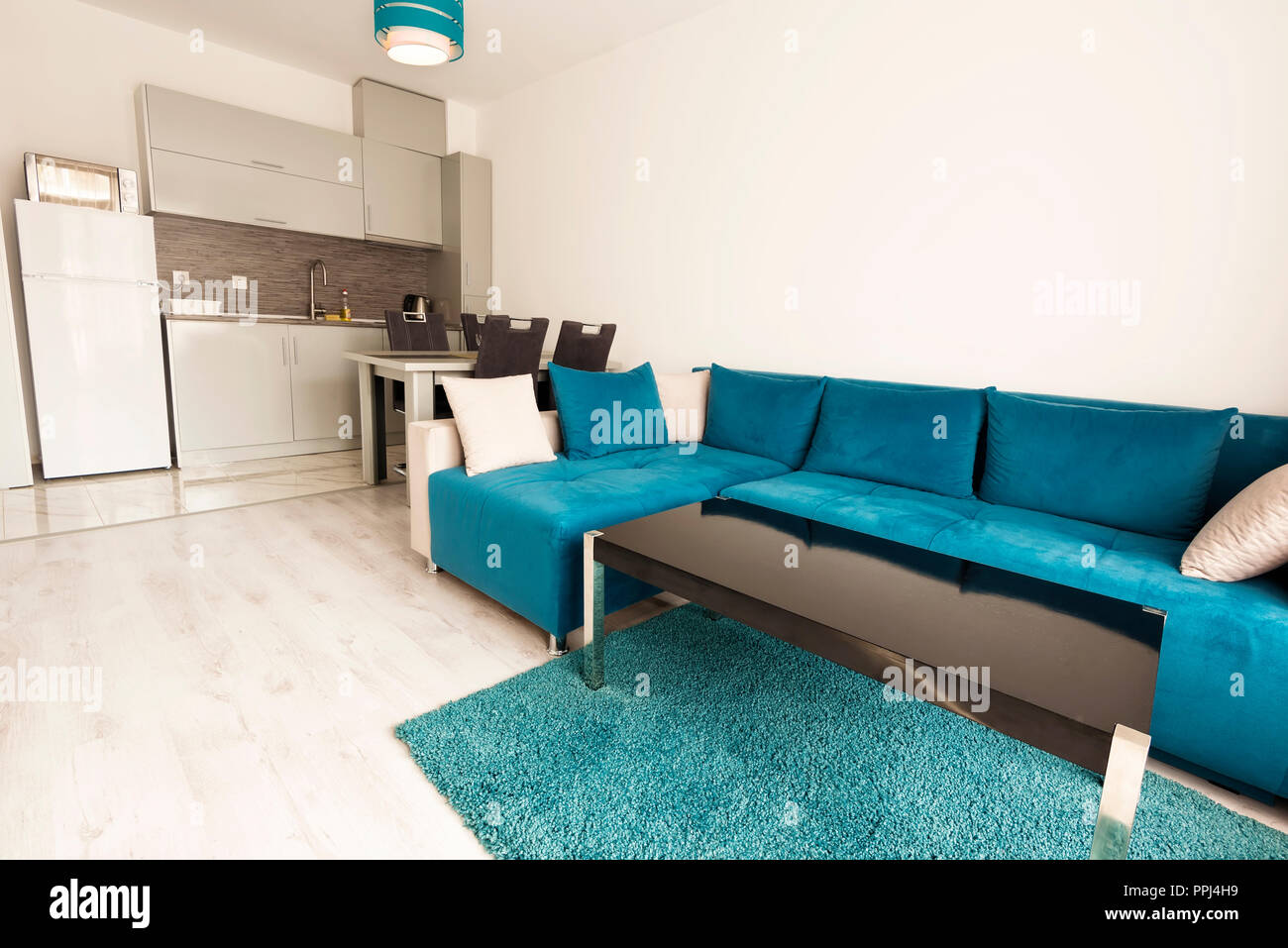 living room furniture for studio apartments the best colors modern bright and cozy interior design with sofa dining table kitchen grey turquoise blue apartment