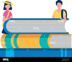 young man and woman with stack books study vector illustration Stock Vector Image & Art Alamy