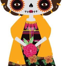 vector illustration of yellow catrina doll on a white background celebrating the day of the [ 727 x 1390 Pixel ]