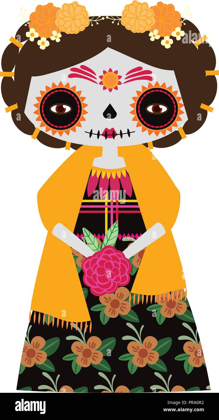 hight resolution of vector illustration of yellow catrina doll on a white background celebrating the day of the