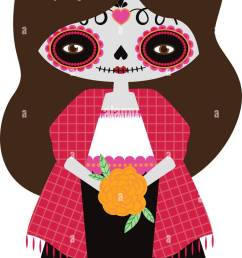 vector illustration of red catrina doll on a white background celebrating the day of the [ 755 x 1390 Pixel ]