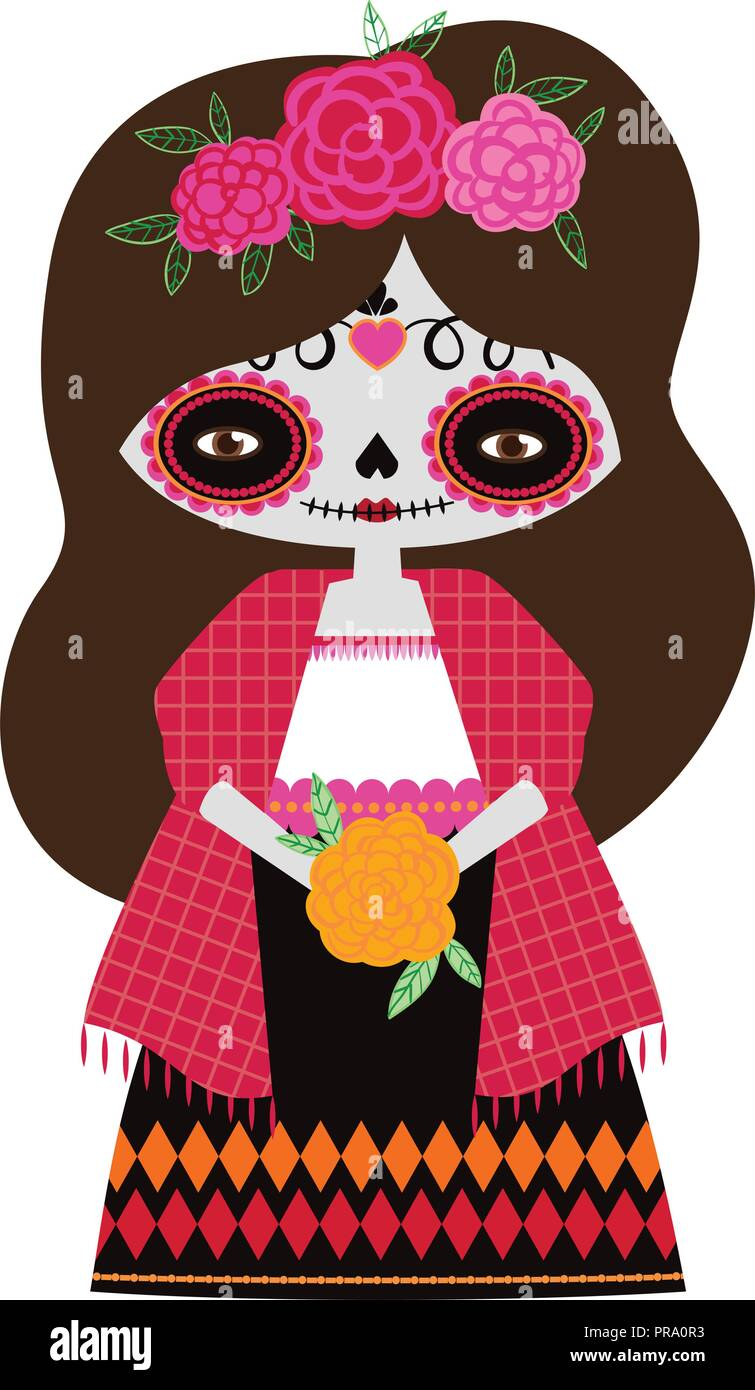 hight resolution of vector illustration of red catrina doll on a white background celebrating the day of the