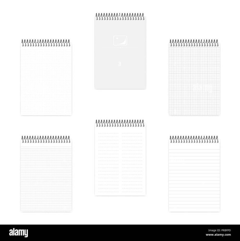medium resolution of a5 top spiral notebook set realistic vector mockup wire bound notepad with various ruled