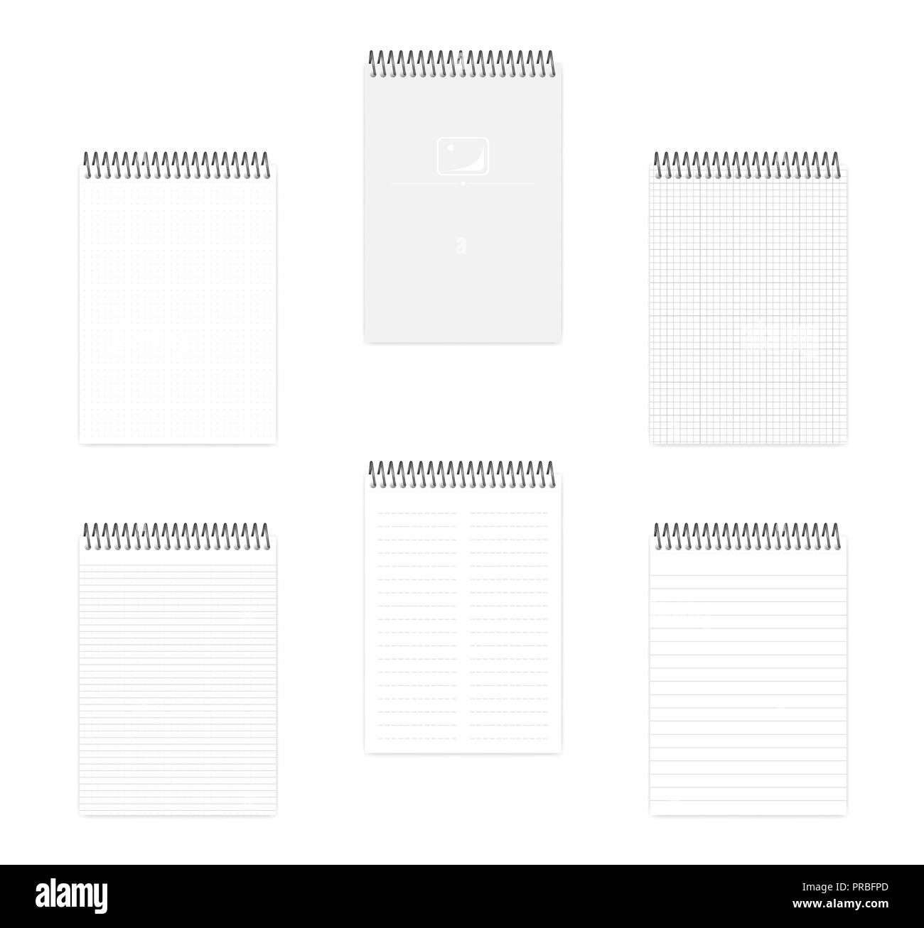 hight resolution of a5 top spiral notebook set realistic vector mockup wire bound notepad with various ruled
