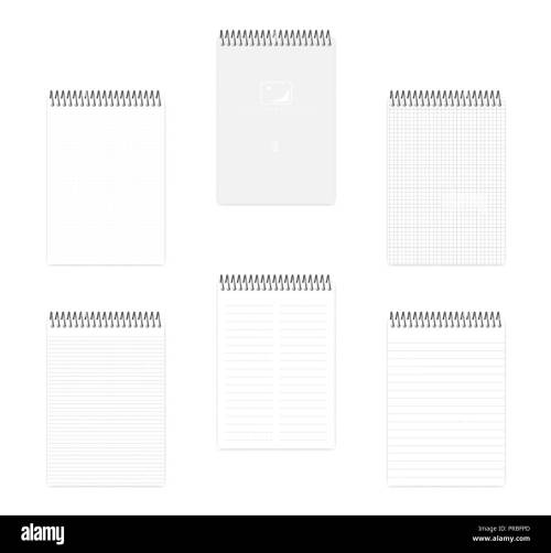 small resolution of a5 top spiral notebook set realistic vector mockup wire bound notepad with various ruled
