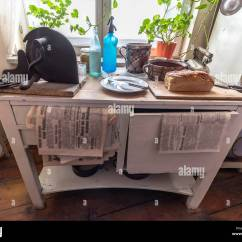Used Kitchen Tables Light Fixtures Typical Table In 1940 S Stock Photo 221000830 Alamy