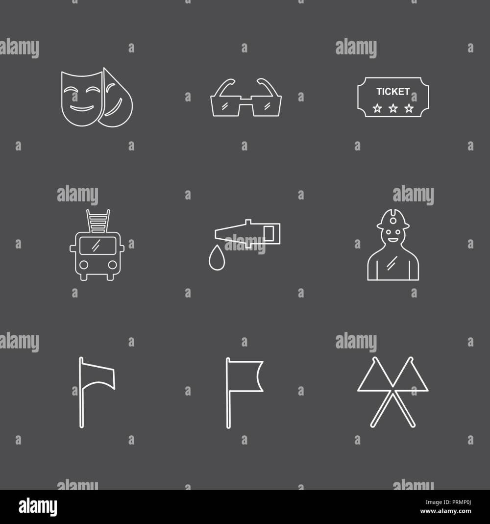medium resolution of mask glasses ticket fire truck pipe labour seo technology internet flags computer icon vector design flat collection style
