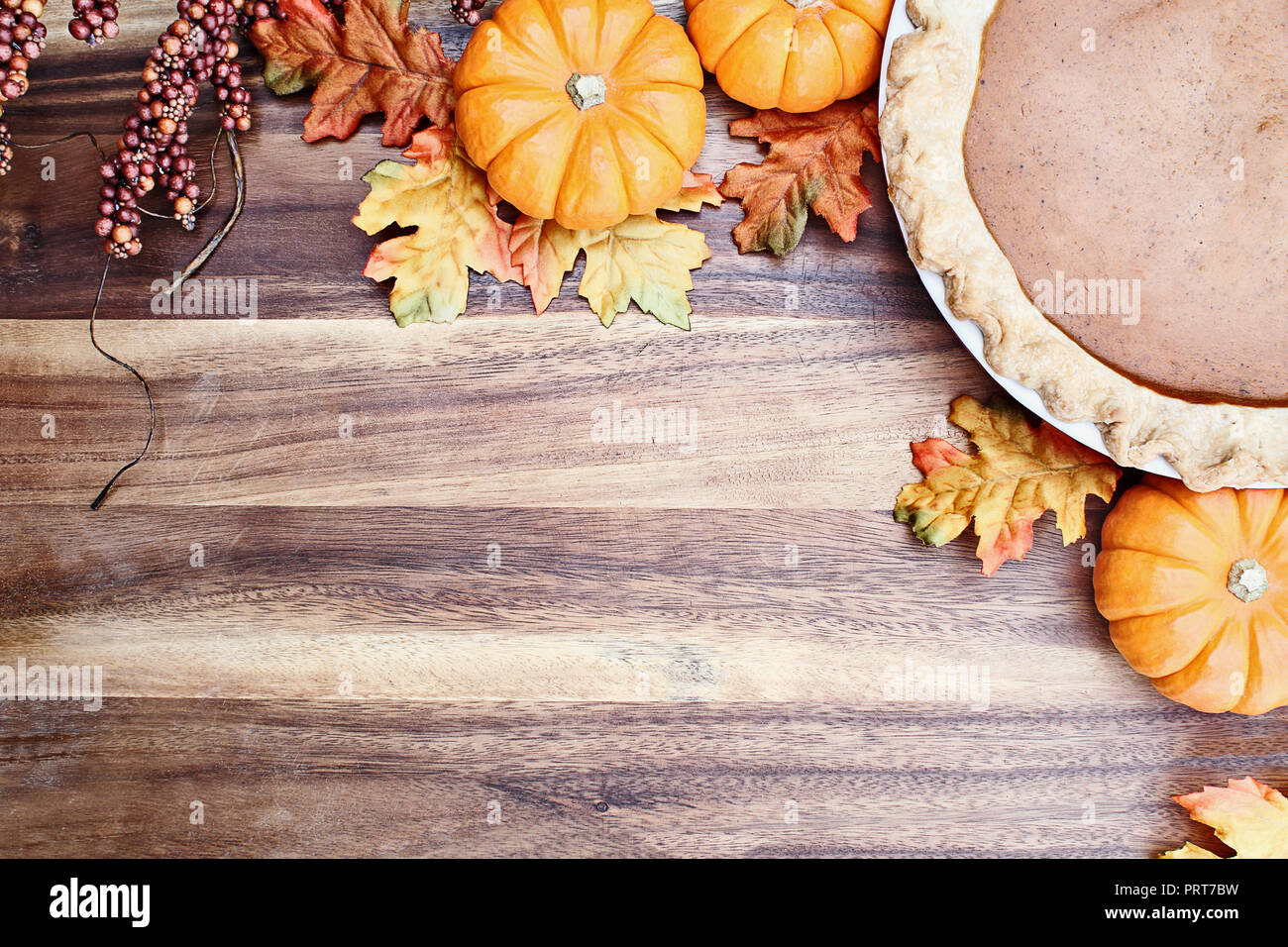 hight resolution of homemade pumpkin pie in pie plate with little pumpkins autumn leaves and room for text
