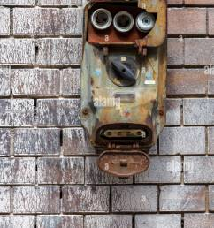 an old fuse box with a switch urgently needed to be replaced stock image [ 866 x 1390 Pixel ]