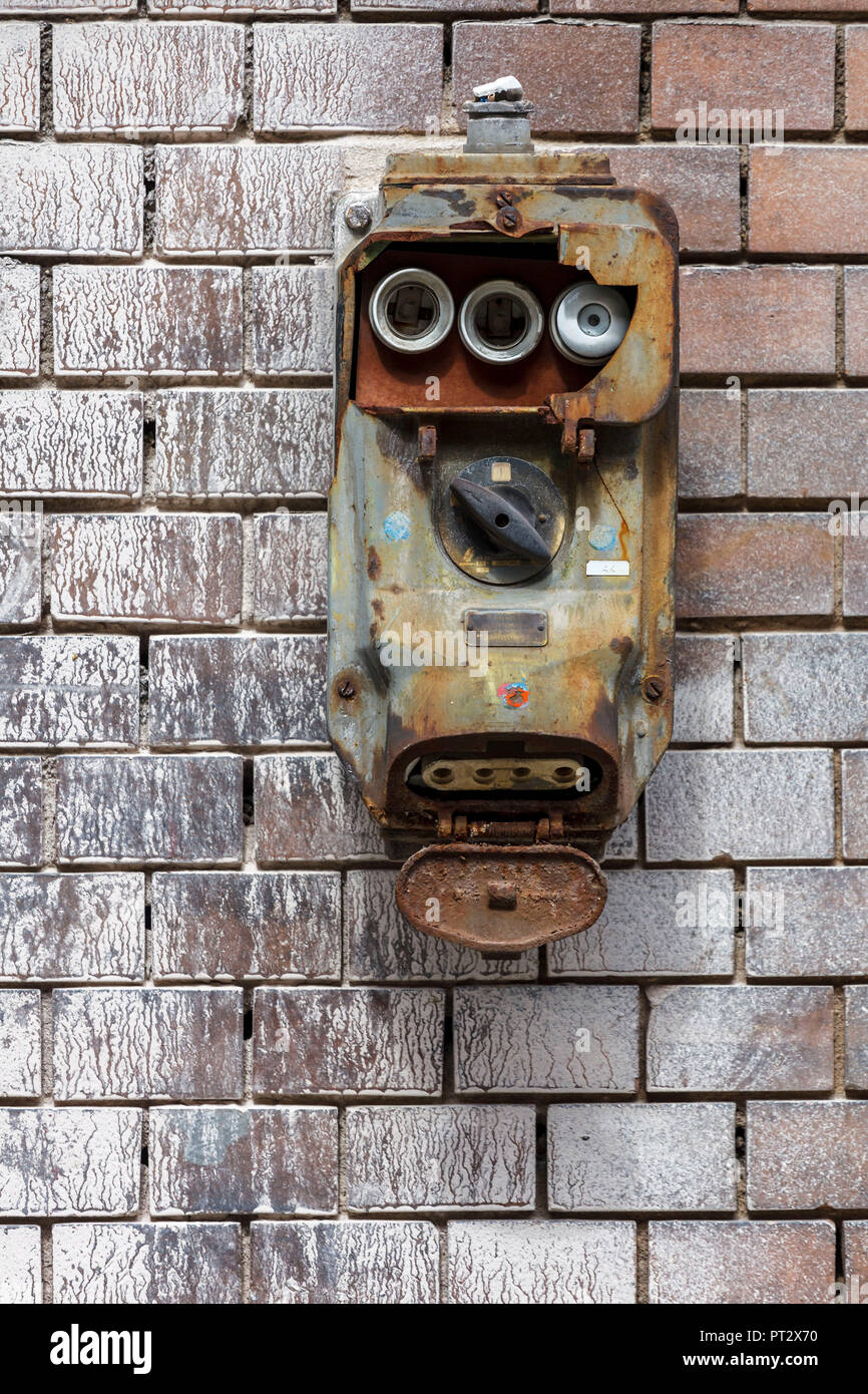 medium resolution of an old fuse box with a switch urgently needed to be replaced stock image