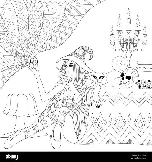 Colouring Pages. Coloring Book for adults. Halloween girl or witch