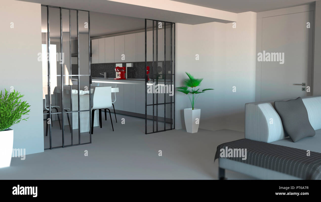 Sliding door living room and kitchen partition modern apartment entrance industrial style 3d