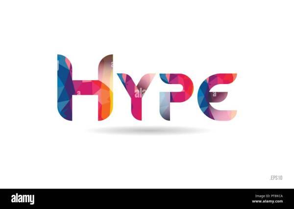 Hype Colored Rainbow Word Text Suitable Card Brochure
