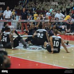 Wheelchair Volleyball Vintage Eames Chair U S Army Sitting Team Play Against The Navy During 2017 Department Of Defense Warrior Games At Chicago Ill