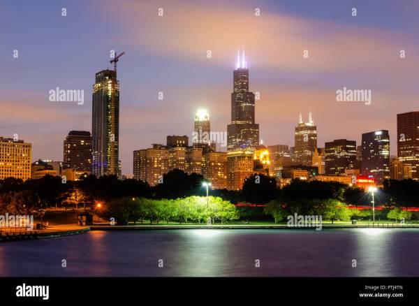 Willis Tower Chicago Skyline Stock &
