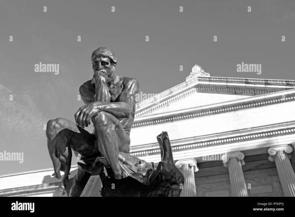 Thinker Augusten Rodin Resting Pedestal South Terrace Of Cleveland