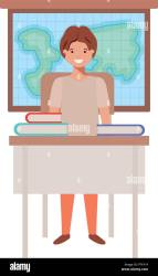 Cartoon Illustration Student Desk In High Resolution Stock Photography and Images Alamy