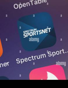 London united kingdom october the spectrum sportsnet mobile app from charter communications on an iphone screen also rh alamy