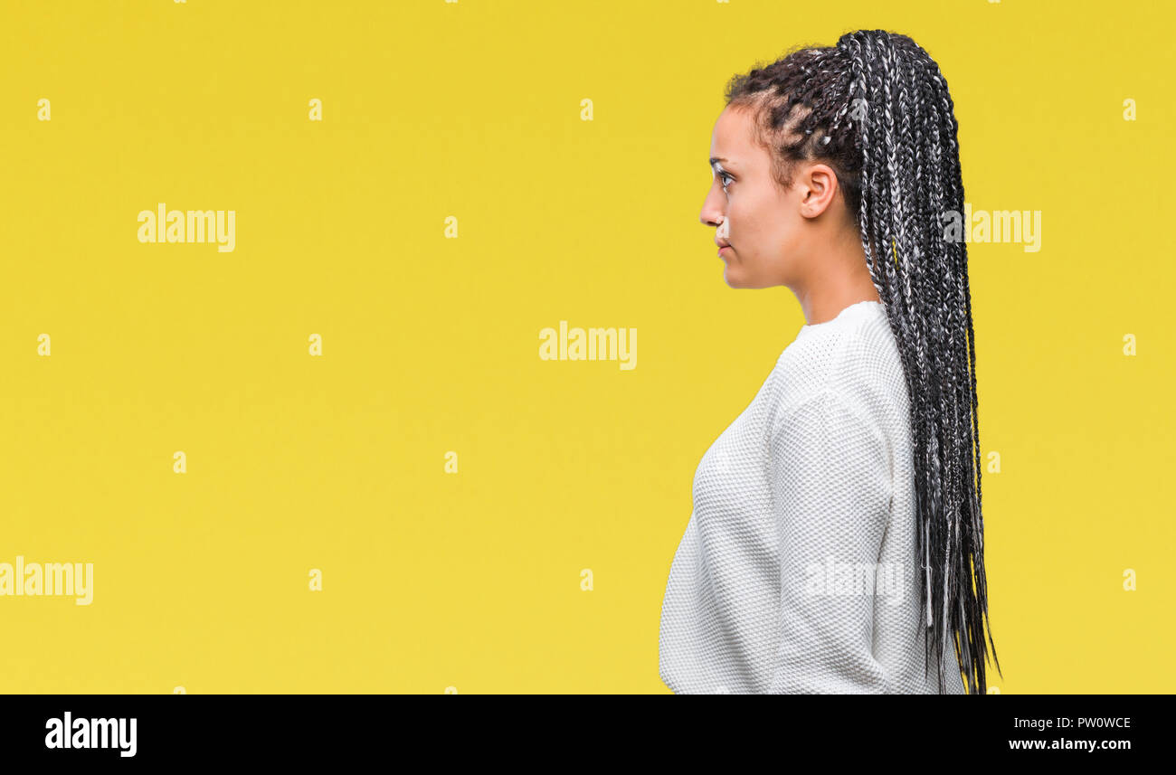 Young Braided Hair African American Girl Wearing Winter Sweater