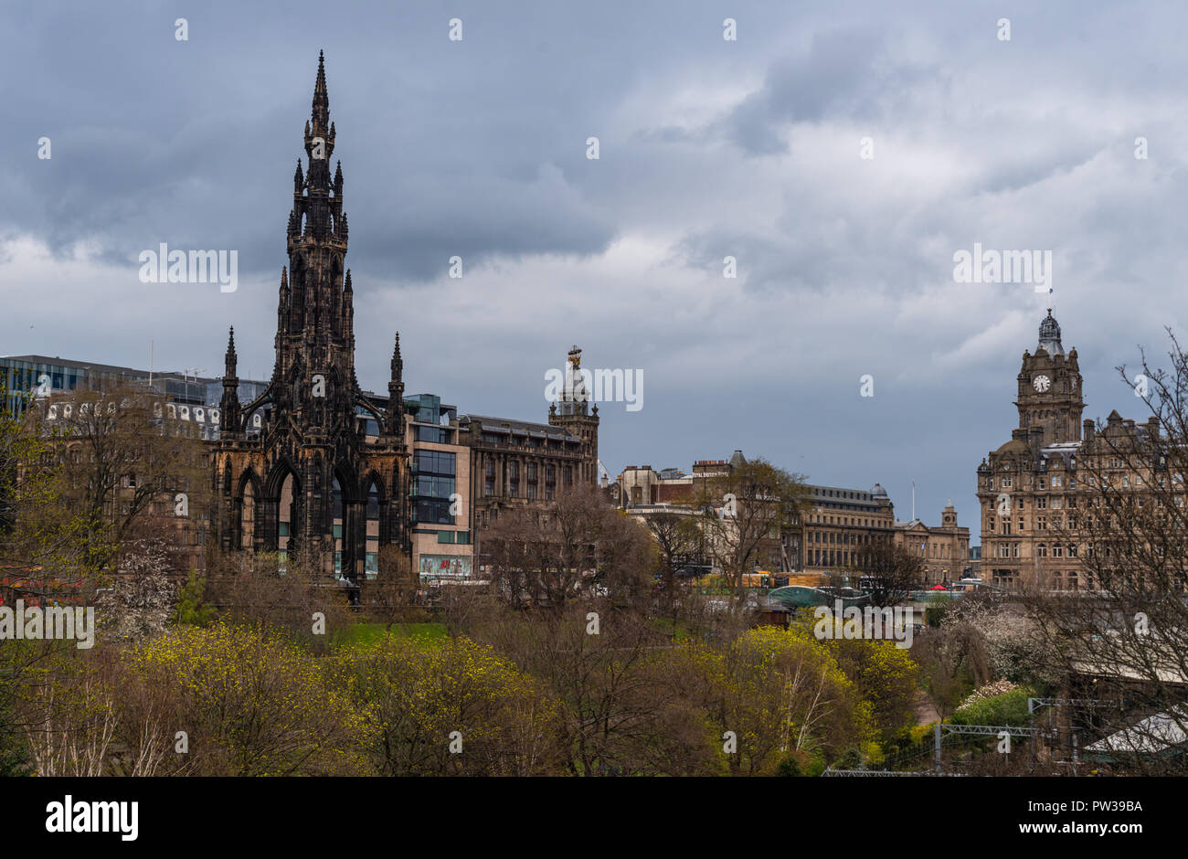 Princes Street Gardens View To Scott Monument And Balmoral