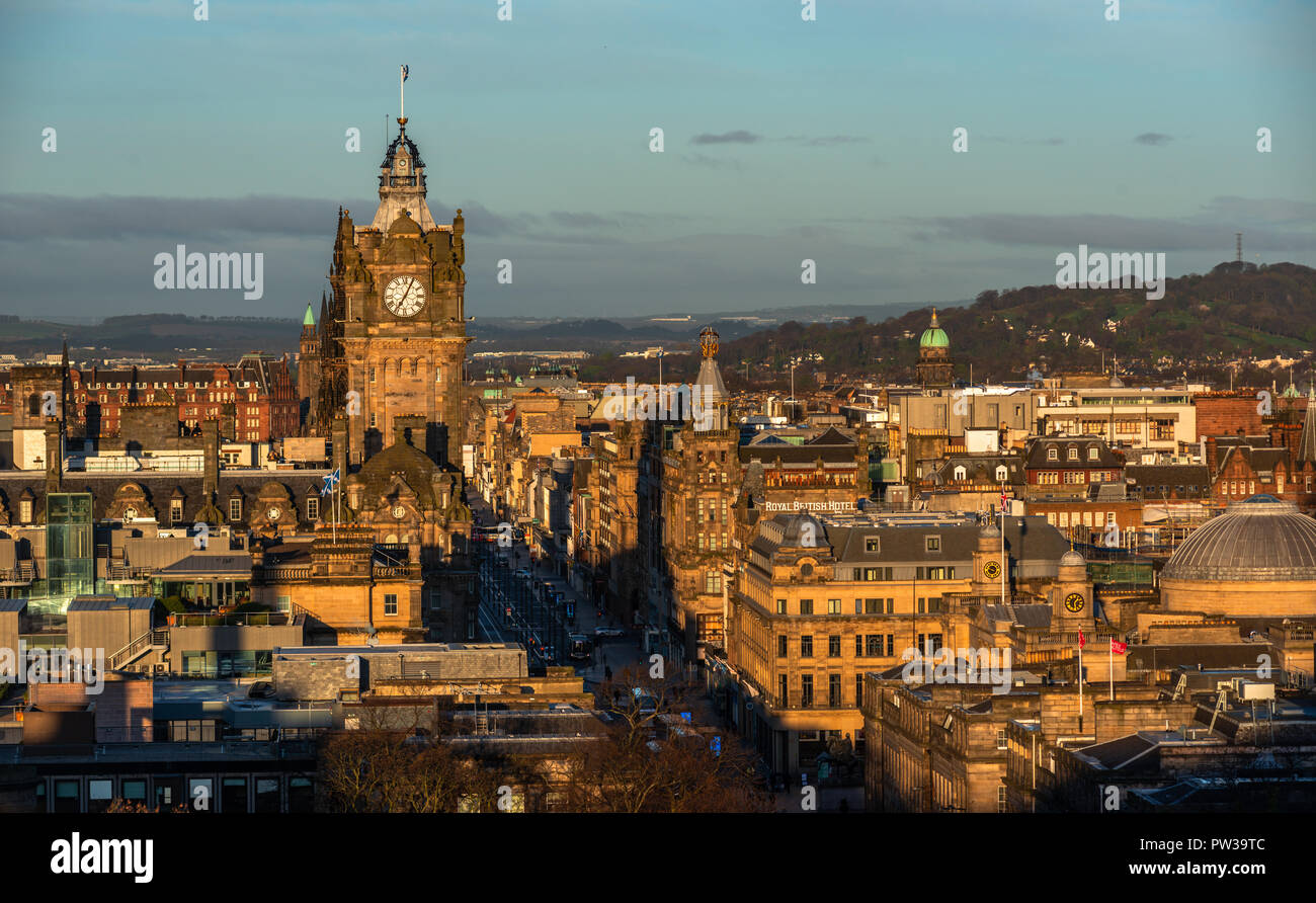 View Of The City Skyline Balmoral Hotel From Calton Hill