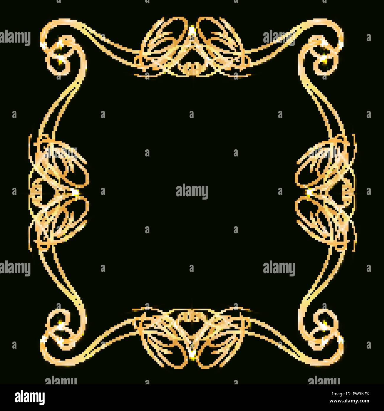 https www alamy com decorative gold frame with gold elements on a dark background for invitation cards wedding card decor blank for the cover design image221973575 html