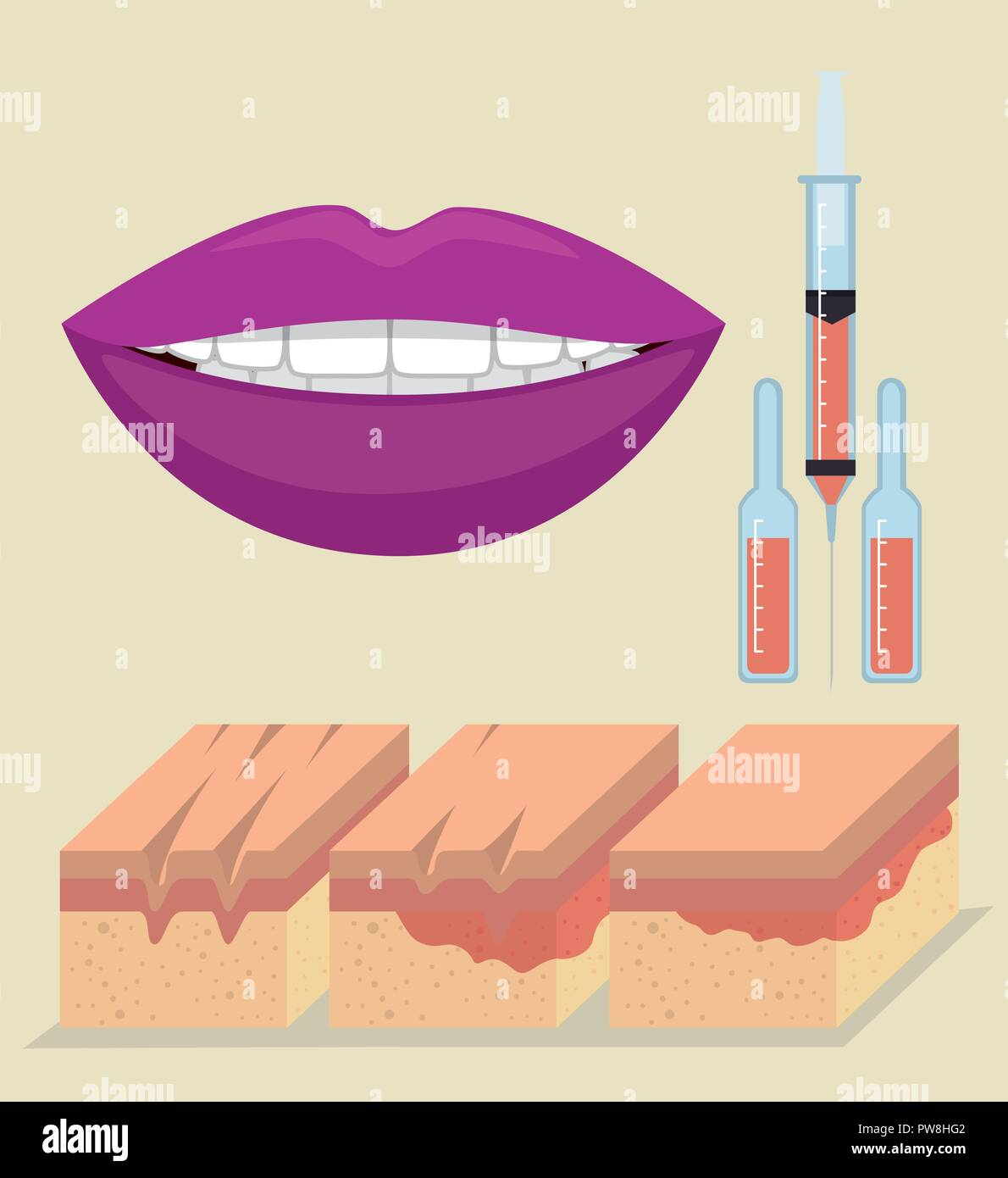 hight resolution of layers of skin with botox injection