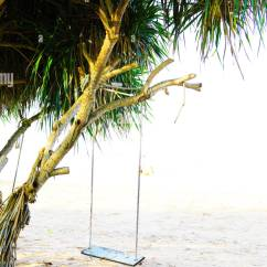 Hanging Chair Tree Hammock Wooden Swing On Near Beach Thailand Stock Photo