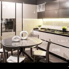 Built In Kitchen Table Build Modern With Black And White Decor Fitted Appliances Circular Dining Chairs Set Sculptural Ceramics