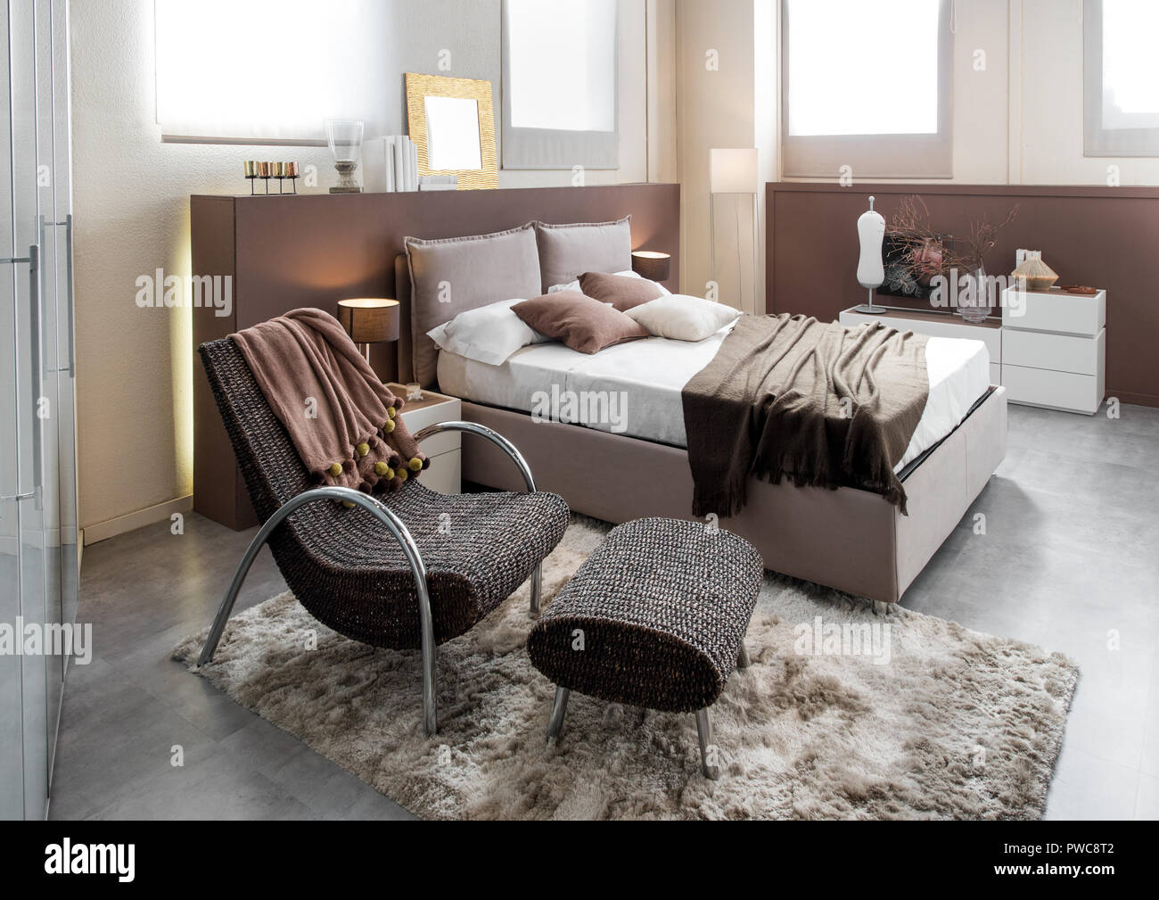 recliner chair bed wicker patio set of 2 modern luxury bedroom with and double large headboard cabinets in brown decor