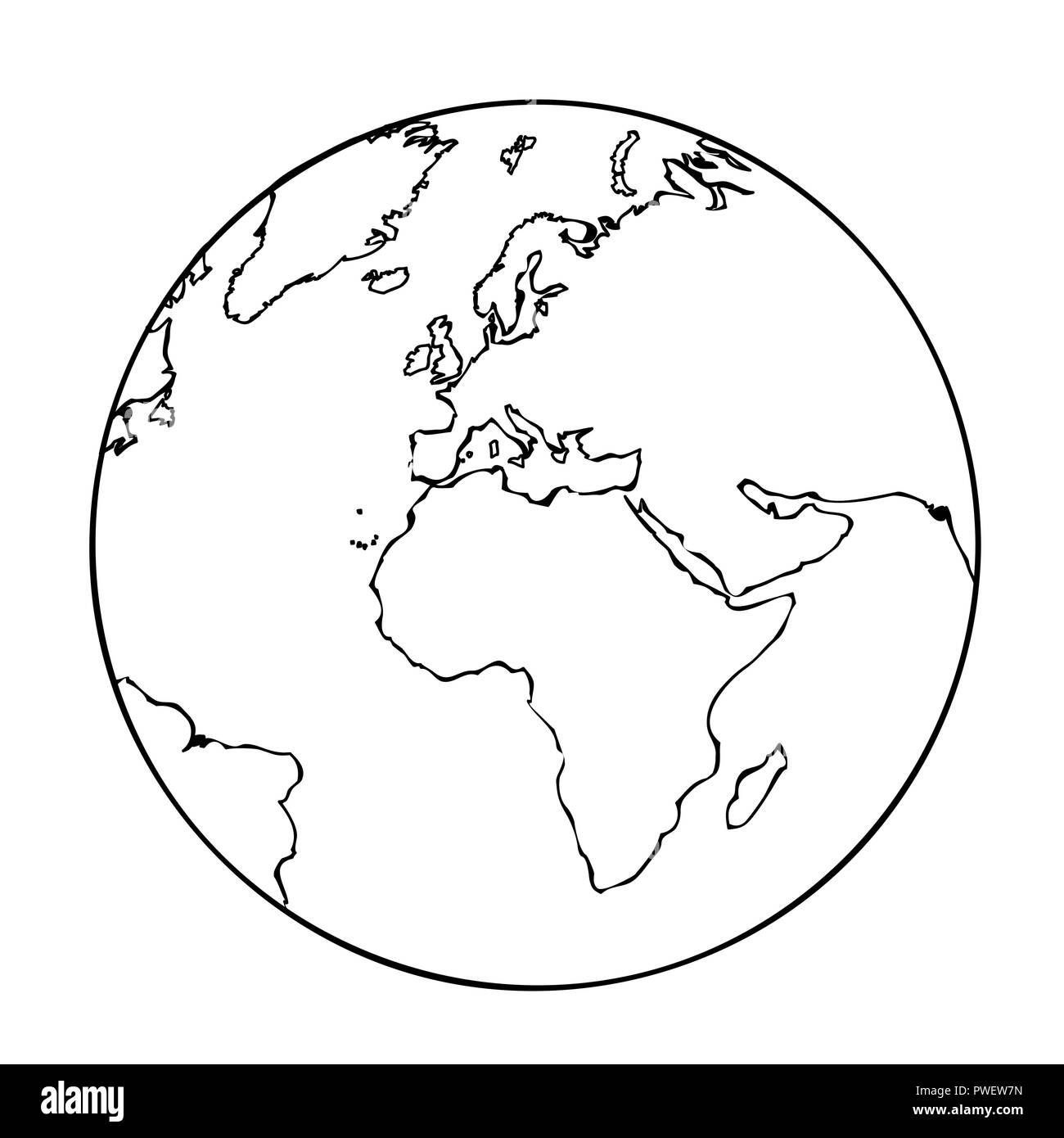 Earth Globe Simple Icon Pictogram Outline Vector